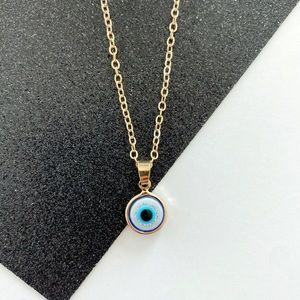 Dainty Blue Evil Eye Necklace - Sparkly Blue